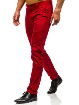 Spodnie chinosy męskie czerwone Denley 0204