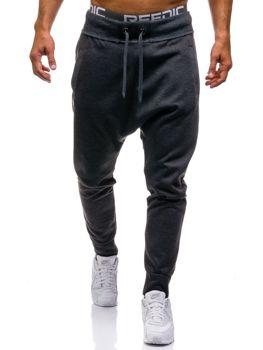 Spodnie dresowe baggy męskie antracytowe Denley1668
