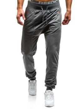 Spodnie dresowe baggy męskie grafitowe Denley 7027