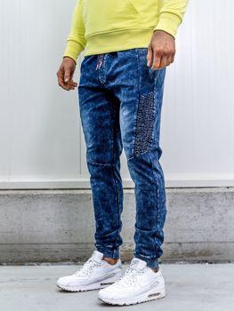 Spodnie jeansowe joggery męskie granatowe Denley KK1037