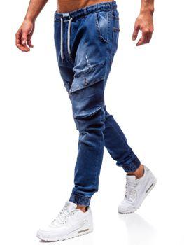 Spodnie jeansowe joggery męskie niebieskie Denley 2048