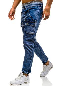 Spodnie jeansowe joggery męskie niebieskie Denley 814