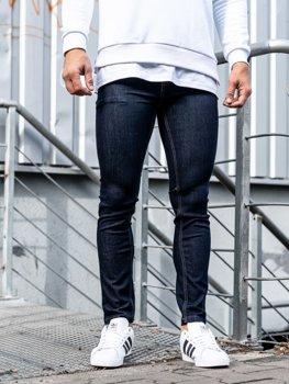 Spodnie jeansowe męskie skinny fit atramentowe Denley 61827
