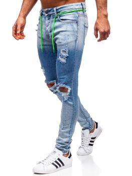 Spodnie jeansowe męskie skinny fit granatowe Denley KA1728