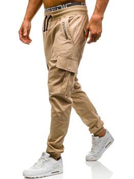 Spodnie joggery bojówki męskie beżowe Denley 0707