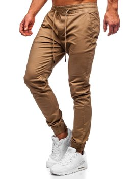 Spodnie joggery męskie camelowe Denley KA951