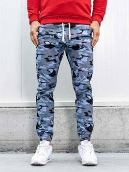 Spodnie joggery męskie moro-błękitne Bolf 0367