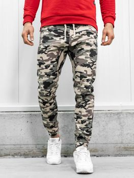 Spodnie joggery męskie moro-ciemnobeżowe Bolf 0367