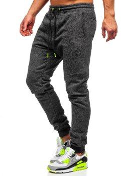 Spodnie męskie dresowe antracytowo-seledynowe Denley Q3778