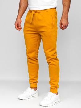 Spodnie męskie dresowe camelowe Denley CK01