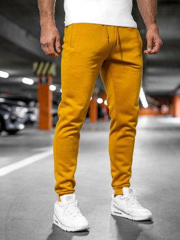 Spodnie męskie dresowe camelowe Denley XW01