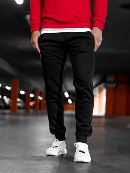 Spodnie męskie dresowe czarne Denley XW01-B