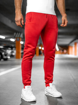 Spodnie męskie dresowe jasnoczerwone Denley XW01