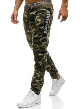 Spodnie męskie dresowe  moro-zielone Denley QN267