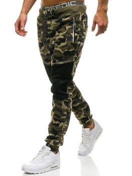 Spodnie męskie dresowe moro-zielone Denley QN274