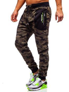 Spodnie męskie dresowe moro zielone Denley TC876