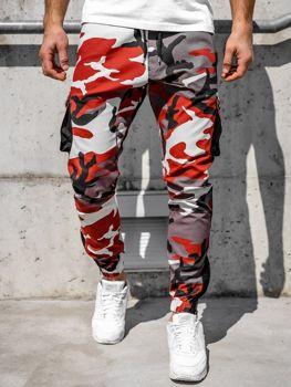 Spodnie męskie joggery bojówki bordowo-czerwone Bolf 0705