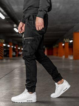 Spodnie męskie joggery bojówki czarne Denley KA528