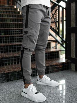 Spodnie męskie joggery bojówki grafitowe Denley 11117