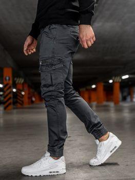 Spodnie męskie joggery bojówki grafitowe Denley KA528