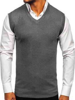 Sweter męski bez rękawów grafitowy Denley W01