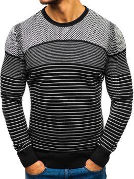 Sweter męski czarno-biały Denley 1015