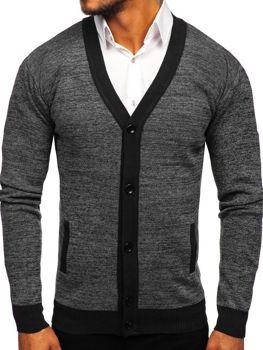 Sweter męski rozpinany czarny Denley 8122