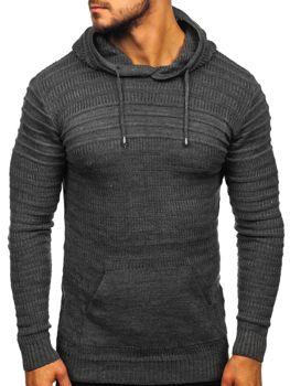 Sweter męski z kapturem grafitowy Denley 7003