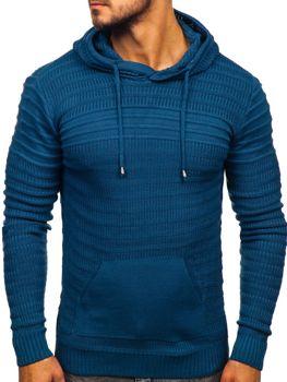 Sweter męski z kapturem niebieski Denley 7003