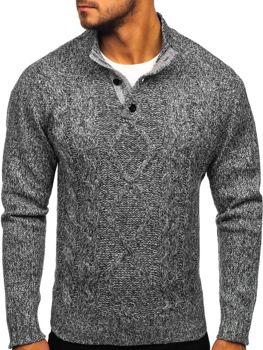 Sweter męski ze stójką grafitowy Denley P088