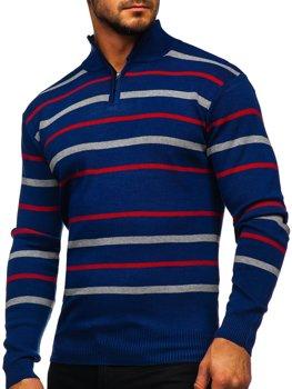 Sweter męski ze stójką niebieski Denley W05