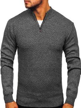 Sweter męski ze stójką rozpinany grafitowy Denley 8255