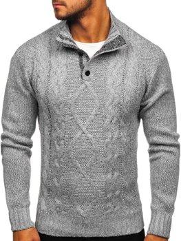 Sweter męski ze stójką szary Denley P088
