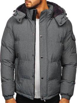 Szara pikowana kurtka męska zimowa Denley 1166