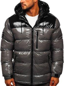 Szara pikowana kurtka męska zimowa Denley 6462