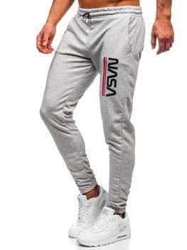 Szare dresowe spodnie męskie Denley 012
