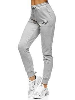 Szare spodnie dresowe damskie Denley EK205139