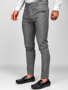 Szare spodnie materiałowe chinosy męskie Denley 0016