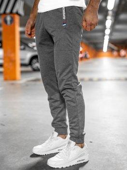 Szare spodnie męskie dresowe Denley JX1029
