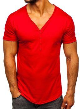 T-shirt męski bez nadruku czerwony Denley 4049