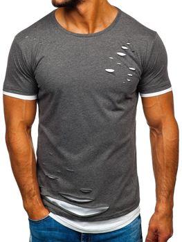 T-shirt męski bez nadruku grafitowy Bolf 10999