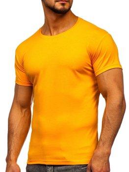 T-shirt męski bez nadruku pomarańczowy Denley 2005