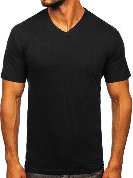 T-shirt męski bez nadruku w serek czarny Bolf 192131