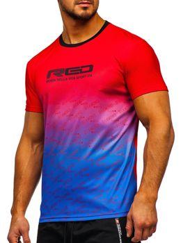T-shirt męski treningowy z nadrukiem czerwony Denley KS2064