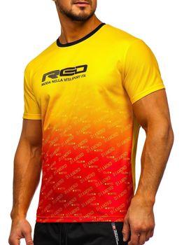 T-shirt męski treningowy z nadrukiem żółty Denley KS2064