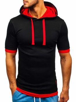 T-shirt męski z kapturem czarno-czerwony Bolf 08-1
