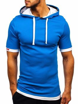 T-shirt męski z kapturem niebieski Bolf 08-1