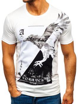 T-shirt męski z nadrukiem biały Bolf 181210