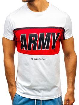 T-shirt męski z nadrukiem biały Denley 100698
