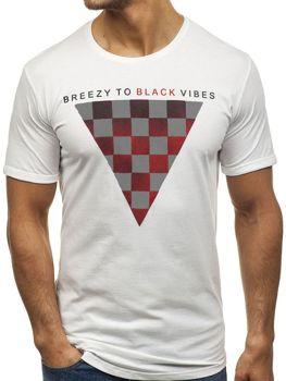 T-shirt męski z nadrukiem biały Denley 181059